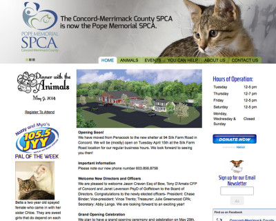 Pope Memorial SPCA Website